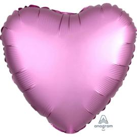 Hart - Satin Luxe Metallic Roze - Folie Ballon - 17 Inch/43 cm