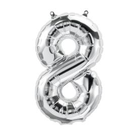 Cijfer - 8 - nummer - zilver - Folie ballon (lucht) - 16inch / 40 cm
