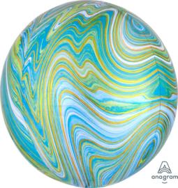 Marmer - Blauw / Goud / Groen - Ronde Ballon - Orbz - 15x16 Inch / 38x40cm