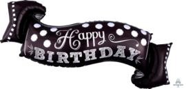 Happy Birthday - Chalk Board - XXL-Zwart-Wit Wimpel Folie Ballon - 40 Inch/101cm