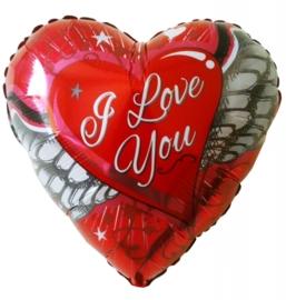 I Love You - met Vleugels - Folie hart ballon - 18Inch/45cm