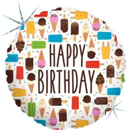 Happy Birthday - Div. ijsjes -  Helium Ballon geschikt voor Helium / Lucht -18 Inch/ 46cm