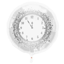 Klok -  5 voor 12 - Zilver / Wit - Folie Ballon - 18 Inch/45 cm