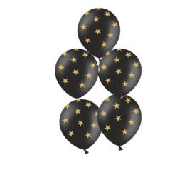 Ster ballonnen-zwart met goud kleurige sterren- 5 ballonnen.-latex -geschikt-voor-helium-of-lucht-ballonplus