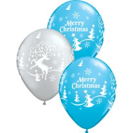 Merry Christmas - Rendier / Kerstboom - Zilver / Blauw - 11 Inch/27,5cm - 5st.