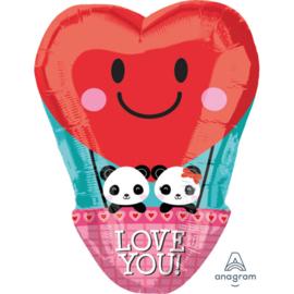 LOVE YOU! - Luchtballon Hart- met Panda Beertjes -Folie Ballon -  17 Inch/ 43cm
