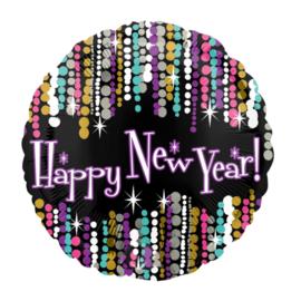 Happy New Year ballon -Party Slingers - Goud / Mint/Fuchsia/ Zwart - folie Ballon -  18 Inch / 45 cm