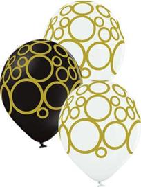 Zwart, Wit ballonnen met Circels opdruk - 12 Inch / 30 cm- 6 st.