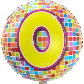 Vrolijke Verjaardags Cijfers 1 - 2 - 3 - 4 - 5 - 6 - 7 - 8 - 9 - 0 - Ronde Folie Ballon - 17 inch/43 cm