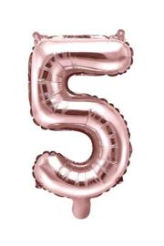 Cijfer - 5 - nummer - Rose Goud - Folie Ballon (lucht) 35 cm