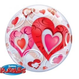 Bubbles ballon - Hartjes - 22 inch/ 56cm
