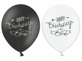 Zwart wit verjaardag ballonnen - latex met tekst Happy birthday to you - 6 stk. - 30 cm