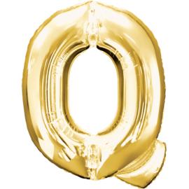 Letter Q ballon goud 86 cm - folieballon letter alfabet helium of lucht