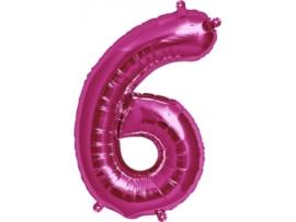Cijfer - 6 - nummer - Fuchia - Folie ballon (lucht) - 16inch / 40 cm