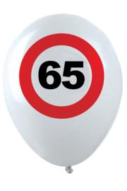 65 - cijfer- verkeersbord  - latex ballon - 11 inch/27,5cm - 6 st.