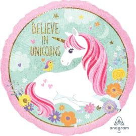 Believe in Unicorns - 2 kanten bedrukt - Folie Ballon - 18 Inch/45cm