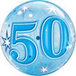 50 - Bubbles Ballon - Blauwe sterren - 22 Inch / 56cm