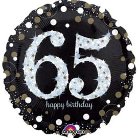 65  - Folie Ballon-Happy Birthday -Confetti - Zilver / Zwart  17 Inch / 43 cm.