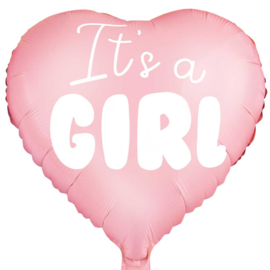 It's a Girl - Roze - Hart Folie Ballon - 18 inch/45cm