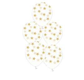 Ster ballonnen - goud - oud en nieuw - doorzichtig - 5stk. latex transparant - ster opdruk - ballonplus