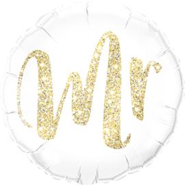 MR - Folie Ballon - Glitter Goud - 18 Inch/46cm