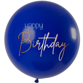 Happy Birthday - Grote Blauwe Latex  Ballon - 80 cm
