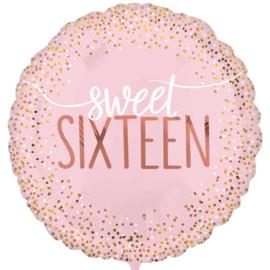 Sweet Sixteen - Roze Folie ballon - 17 Inch / 43 cm