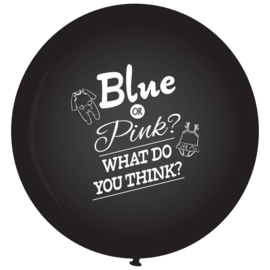 DIY: Blue or Pink? What do you think?- Grote zwarte ballon- Gender reveal ballon - 36 Inch/90 cm