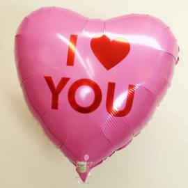 I Love You - Hart - Roze  -  Folie Ballon - 17 inch/43 cm