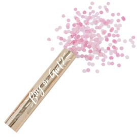 Gender Reveal - Boy or Girl? - Gouden Confetti canon - Party popper - Roze / Meisje - 4,5 cm x 30 cm