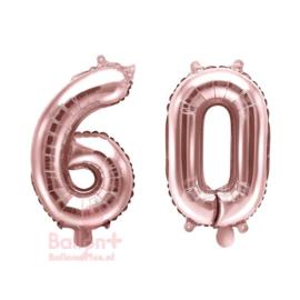 Getal - 60 - Cijfers /  Nummers - Rose Goud - Folie Ballon (lucht) 35 cm