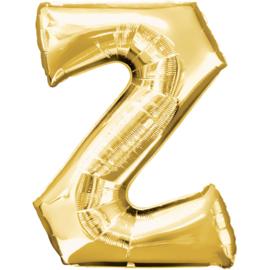 Letter Z ballon goud 86 cm - folieballon letter alfabet helium of lucht