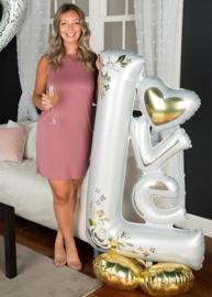 LOVE - Wedding - Wit/Goud - XXL Folie Ballon- 29 x 58 Inch/73cm x147cm
