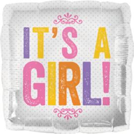 It's a GIRL! - Vierkante Folie Ballon - 18 Inch / 46 cm