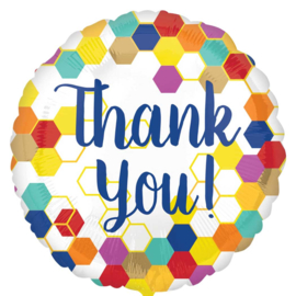 Thank You! - Vrolijke kleuren - Folie ballon - 17 Inch/ 43 cm
