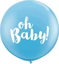 Oh Baby! - Baby  Blauw Latex Ballon XXL -Latex Ballon - 36Inch / 90cm