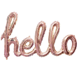 Hello Script - Folie Ballon - Rose Goud - 119cm