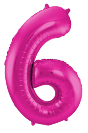 Cijfer - 1, 2, 3, 4, 5, 6, 7, 8, 9, 0 - Fuchsia Roze - XXL Folie ballon - Nummer - 34 Inch/ 86cm.