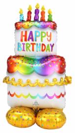 Staande Mega Verjaardagstaart met 5 Kaarsjes-Kleurrijke XXLFolieballon - 53 Inch/134 cm (op lucht!)
