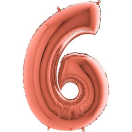 Cijfer - 41,2,3,4,5,6,7,8,9,0 - Rose Goud  - XXL Folie Ballon - Nummer - 40 Inch./102cm