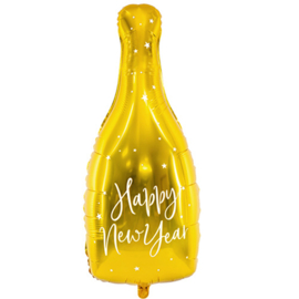 Happy New Year - Gouden Champagne Fles - Folie Ballon - XXL - 12.5x32.5 Inch./32x82 cm