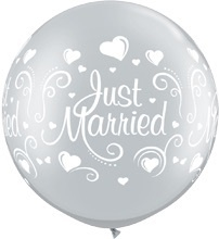 Just Married - Zilver - XXL - Latex Ballon - 30 inch / 75cm