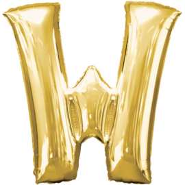 Letter W ballon goud 86 cm - folieballon letter alfabet helium of lucht