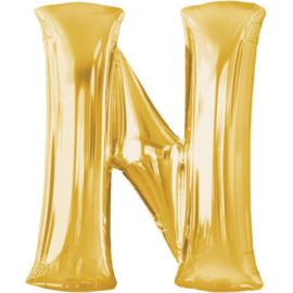 Letter N ballon goud 86 cm - folieballon letter alfabet helium of lucht