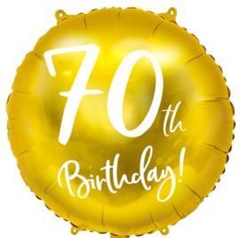 70th Birthday! - Gouden Folie Ballon - 18 Inch/45cm