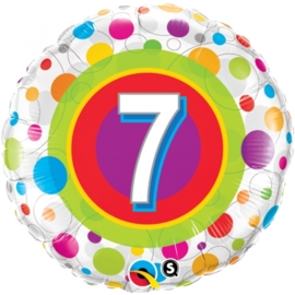 7 - Folie ballon - kleurige Stippen- 18 inch/45cm