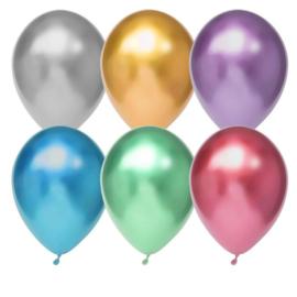 Goud, Zilver, Paars, Blauw, Groen, Roze Chrome Latex Ballonnen - 12 Inch/ 30 cm - 6 st.