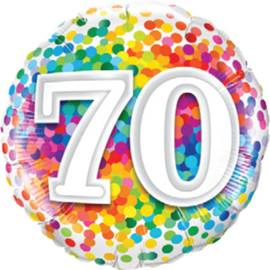 70 - Folie Ballon - Diversen Kleuren Confetti opdruk - 18 Inch. / 46 cm