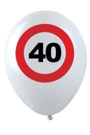 40- cijfer- verkeersbord  - latex ballon - 11 inch/27,5cm - 6 st.