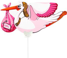 Ooievaar Girl - Folie Ballon - 21 X 9 cm ( lucht)